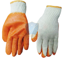 KM70C- Găng tay len phủ cao su cam K7
